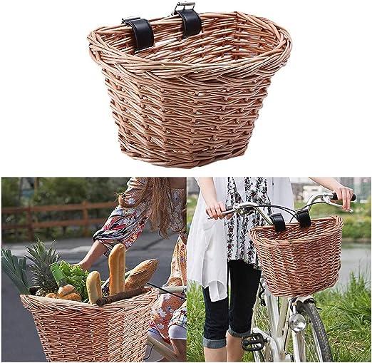LifeBest Cesta de Mimbre para Bicicleta Cesta Delantera de ...