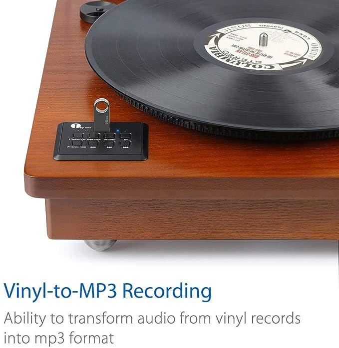 1 BY ONE Wireless Tocadiscos Estéreo Portátil con Altavoces Integrados, Compatible con Salida RCA , Puerto de Auriculares , MP3 , la reproducción de ...