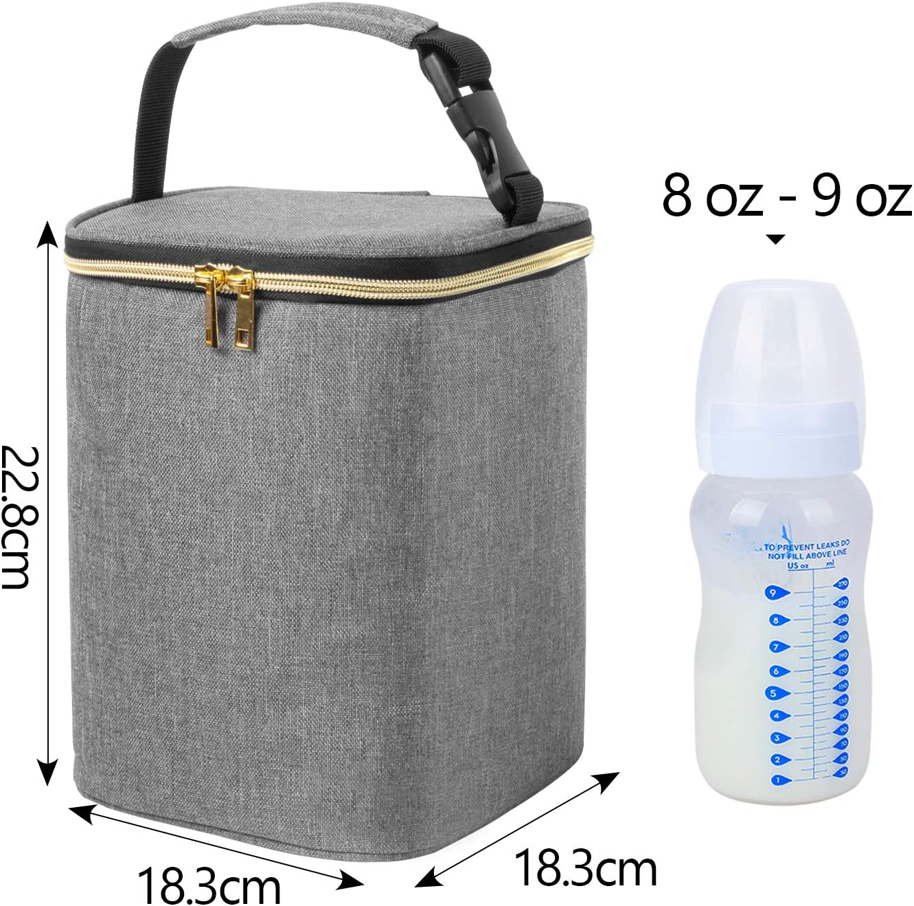and Ice Pack Baby Bottle Cooler Bag for 4 Baby Breastmilk Bottles up to 270ml Teamoy Breastmilk Cooler Bag Beige Dandelion