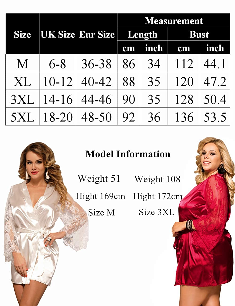 Damen Kimono Morgenmantel Bademantel Durchsichtig 34 36 38 40 42 44 46