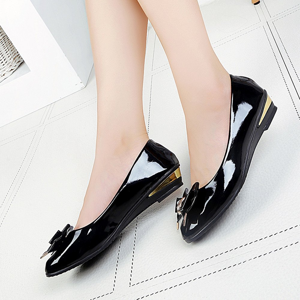 Womens Casual Shoes 2019,Fashion Ladies Solid Bow Tie Round Toe Shoes Shallow Flat Single Shoes Dress Shoes