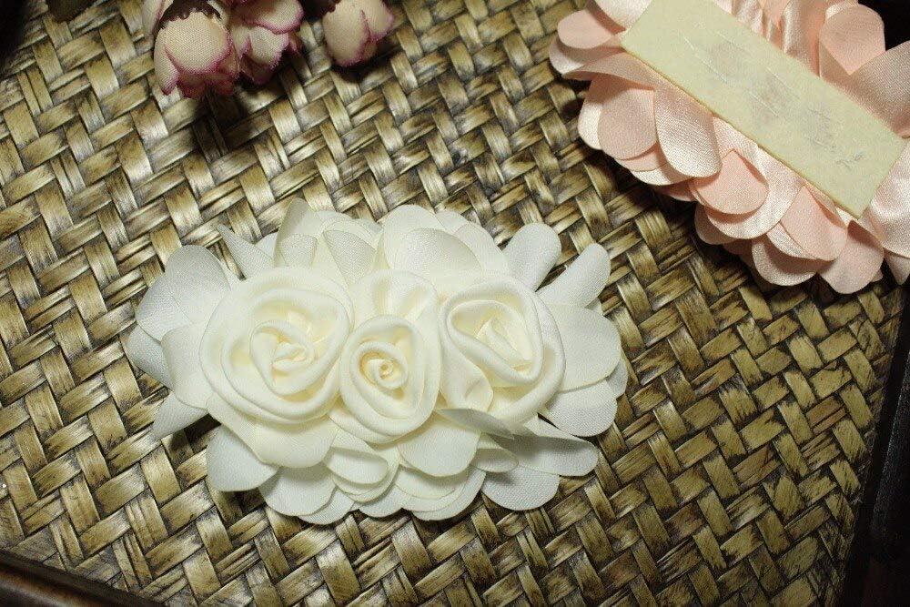 Satin Rosette Applique Headpiece Bridal Belt Sale Pink Silk Flowers Applique Flowers 1piece Bridal sash Corsage Lace Craft
