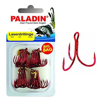50 Drillingshaken,Drillinge Rot Größe   8# treble hook red