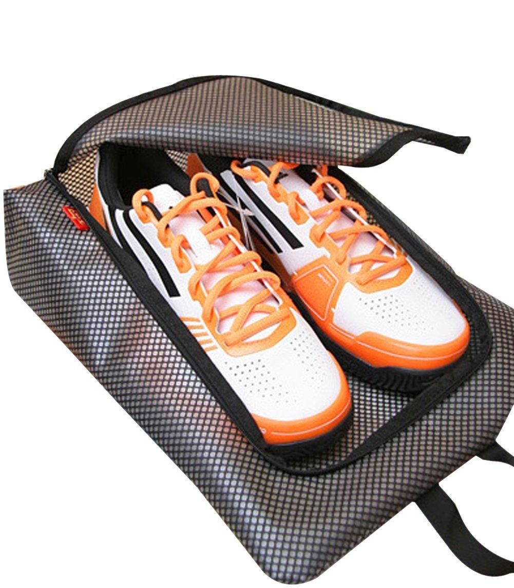 最新トレントのセット2防水ファスナー付きメッシュパターンナイロンポータブル旅行靴ストレージバッグポーチ – 17.3 X 11インチ3色 ブラック B014IVZSV2 ブラック