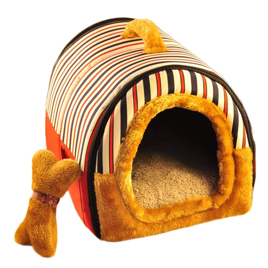 Red stripes M Red stripes M GJ Pet Nest Kennel Removable And Washable Four Seasons Universal Dog House Bed Cat Litter Dual Purpose (color   Red stripes, Size   M)