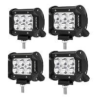"Auxbeam 4 Pcs 4"" LED Light Bar 18W LED Pods 6pcs 3W CREE LEDs Spot Beam Driving Light Waterproof LED Bar"