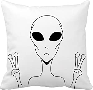 Topyee Throw Pillow Cover Alien is Showing a Sign of Peace Space and UFO Theme Hand Drawn Made by Simple Lines 20x20 Inch Home Decor Pillowcase Square Pillow Case Cushion Cover for Couch Bed