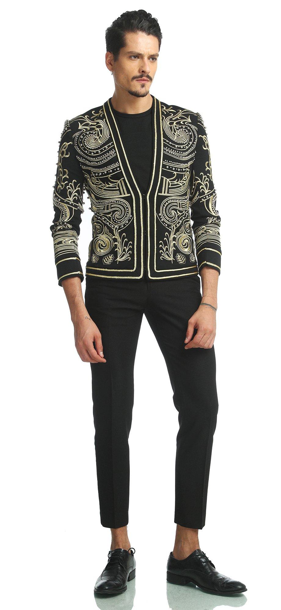 Pizoff Men's Luxury V-Neck Slim Fit Stylish Suit Blazer Jacket Long Sleeve Formal Dinner Dress AD001-02-L by Pizoff (Image #4)