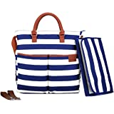 Nappy Bag by Hip Cub - Plus Matching Baby Changing Pad - Navy and White Stripe Designer Cotton Canvas W/Cute Tan Trim - Navy
