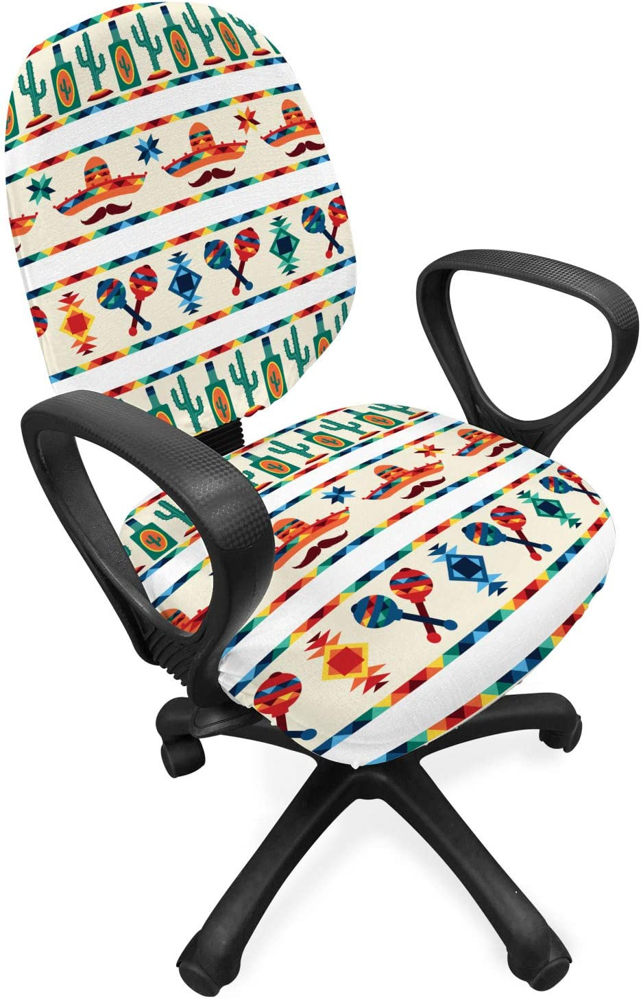 Ambesonne Mexican Office Chair Slipcover, Latin American Cultural Native Borders Indigenous Saguaro Sombrero Tequila Bottle, Protective Stretch Decorative Fabric Cover, Standard Size, Ivory