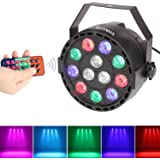 Stage DJ Light Party Lighting Par Lights with Remote Control for Christmas Wedding Birthday Disco Club Pub Bar (RGBW DMX512 Mixing Color, 12 LEDs)