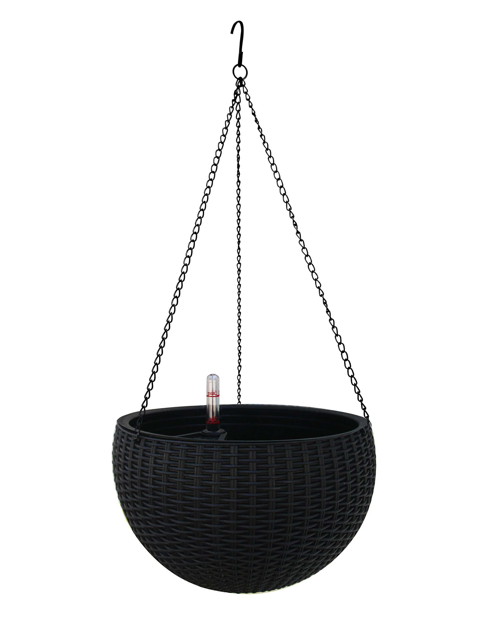 TABOR TOOLS TB709A Hanging Planter for Indoor and Outdoor Use, Elegant Round Plastic Wicker-Design Chain Basket for Flowers and Plants, Self-Watering with Water Level Indicator Gauge (Black)