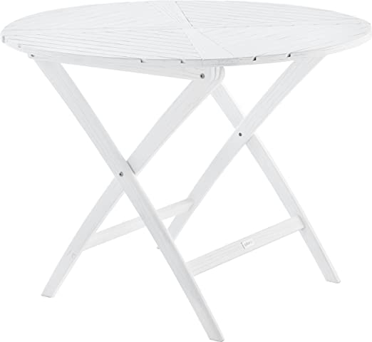Mesa redonda plegable de jardín madera balau, color blanco: Amazon ...