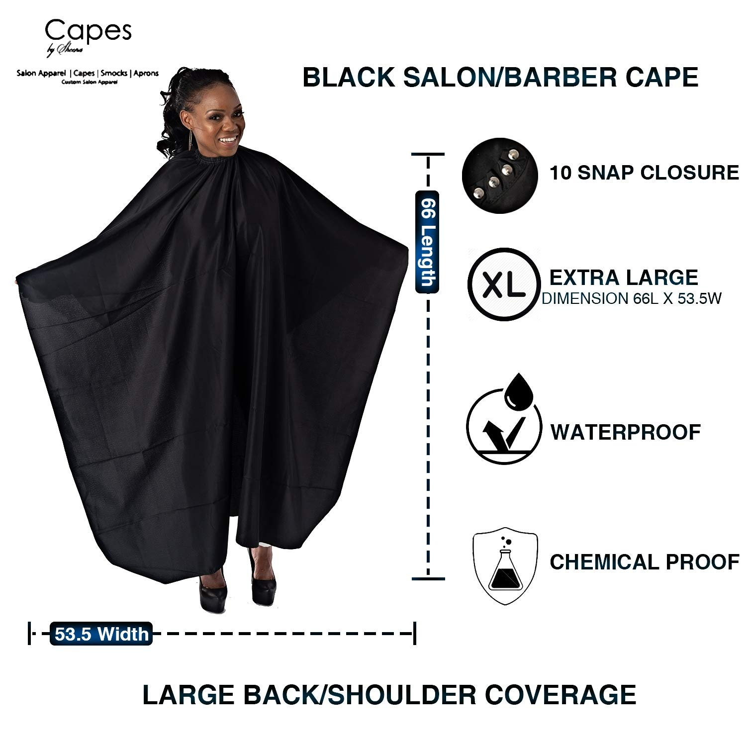Capes By Sheena Black Hairdresser Barber Cape W/ 10 Snap Closure, X Large 66'' L x 53.5'' Stylist Supplies for Hair-Cutting by Capes By Sheena
