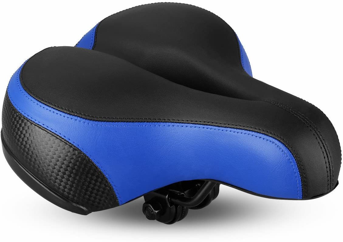 UNISTRENGH Comfortable Bike Seat for Men and Women Hybrid Road Bicycle Cruiser and Stationary Exercise Bike Oversize Bicycle Saddle with Safety Reflective Tape Soft Cushion Fit for Mountain Bike