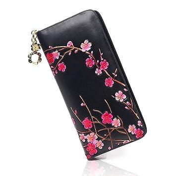 APHISONUK - Cartera para Mujer, Black-4(Plum Blossom) (Negro)