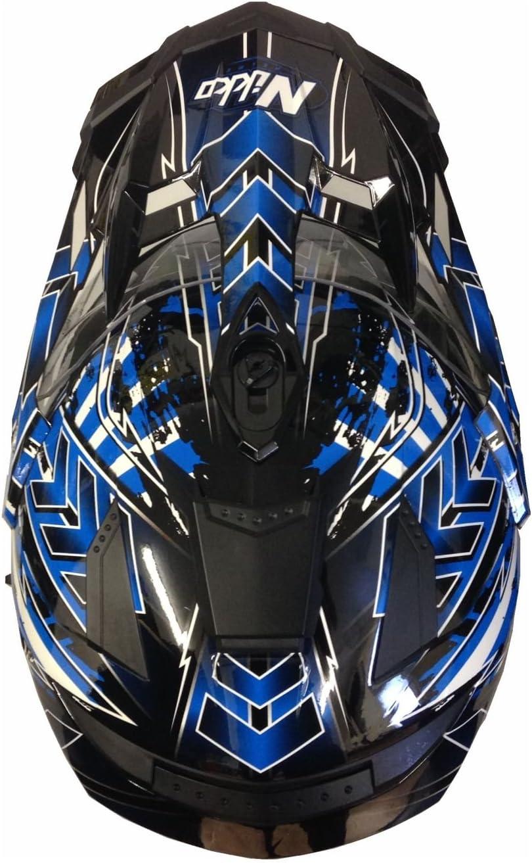 XL Motorradhelm MX Enduro Quad Helm Schwarz Blau mit Visier und Sonnenblende Gr