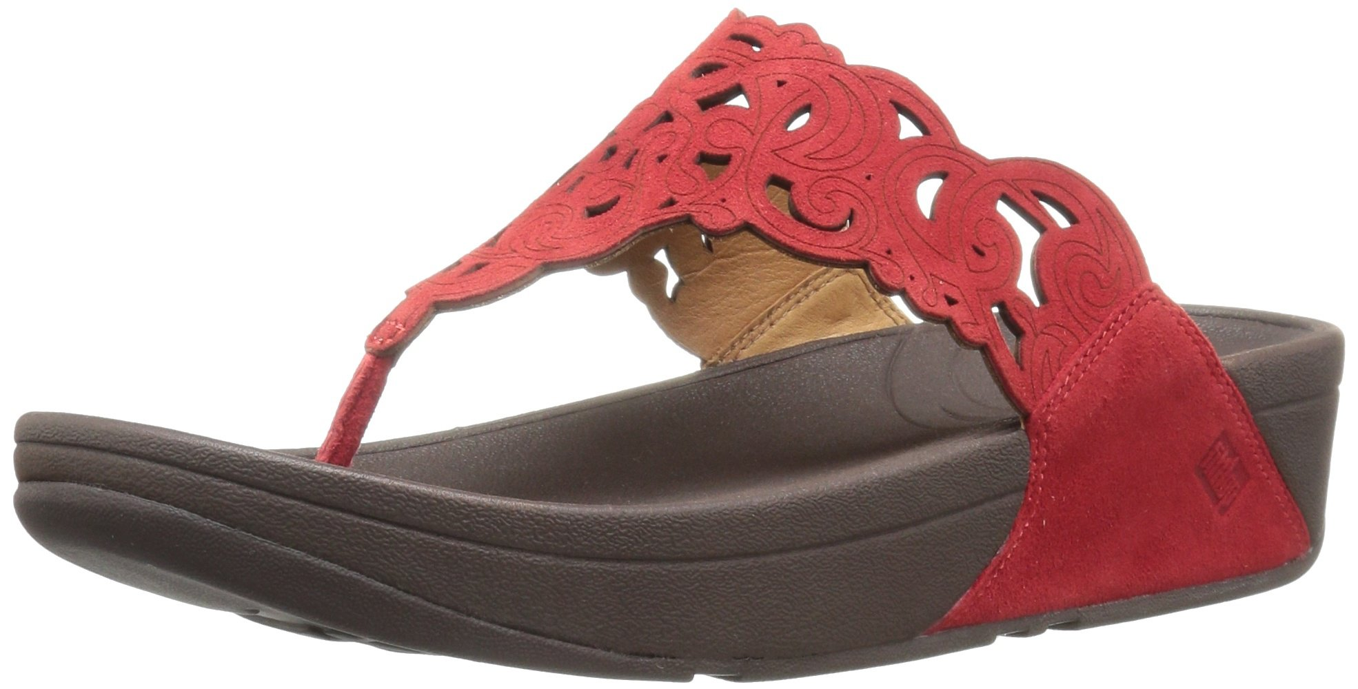 FitFlop Women's Flora Flip Flop, Red, 8.5 M US