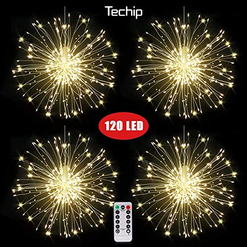 Techip Fairy Firework String Lights, Battery Operated Hanging Copper Starburst Light, 8 Modes Dimmable Christmas Decorative Twinkle Fairy Lights for Party Yard Garden Bedroom 4 Pack, White 120led