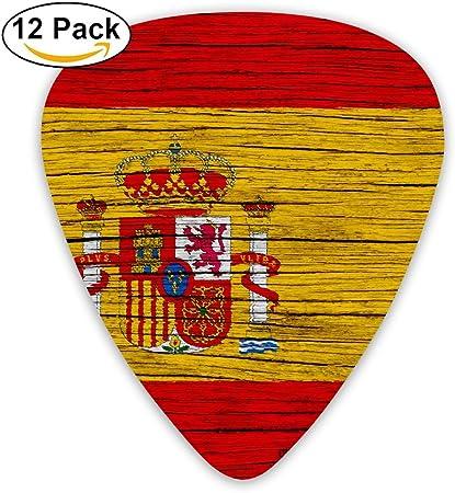 HaSaKa España - Púa de guitarra de madera con bandera de España (0,46 mm, 0,73 mm, 0,96 mm, 12 unidades): Amazon.es: Hogar