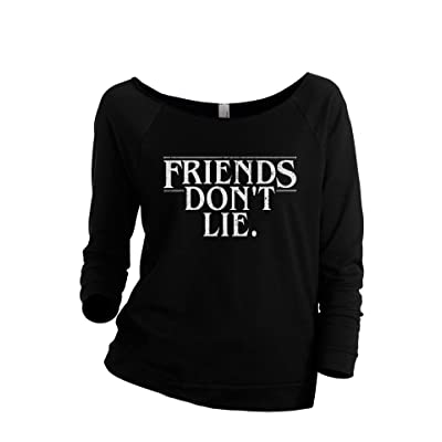 Thread Tank Stranger Things Friends Don't Lie Women's Slouchy 3/4 Sleeves Raglan Sweatshirt Black