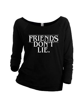 Thread Tank Friends Don t Lie Women s Slouchy 3 4 Sleeves Raglan Sweatshirt  Black 4ff401aaf