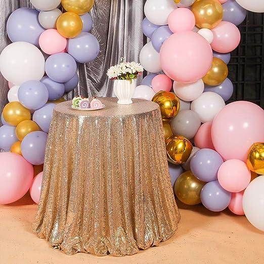 Ulmisfee Manteles de Lentejuelas Manteles para Decoraciones de Mesa de Pastel de cumpleaños de Boda, Oro Claro, 50 Pulgadas Redondas
