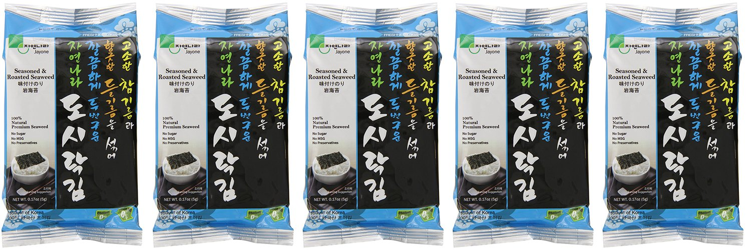Jayone Seaweed Roasted and Lightly EBgaW Salted, 24 Count (5 Pack)
