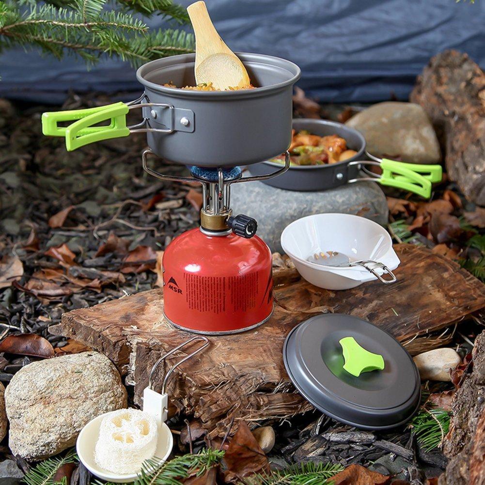 /Olla con Tapa Antiadherente Cookware Kit para Exterior Viaje Camping 1/hasta 2/Personas ToWinle Env/ío Rei chste Camping Cocina Juego de Camping Accesorios Port/átil Camping/
