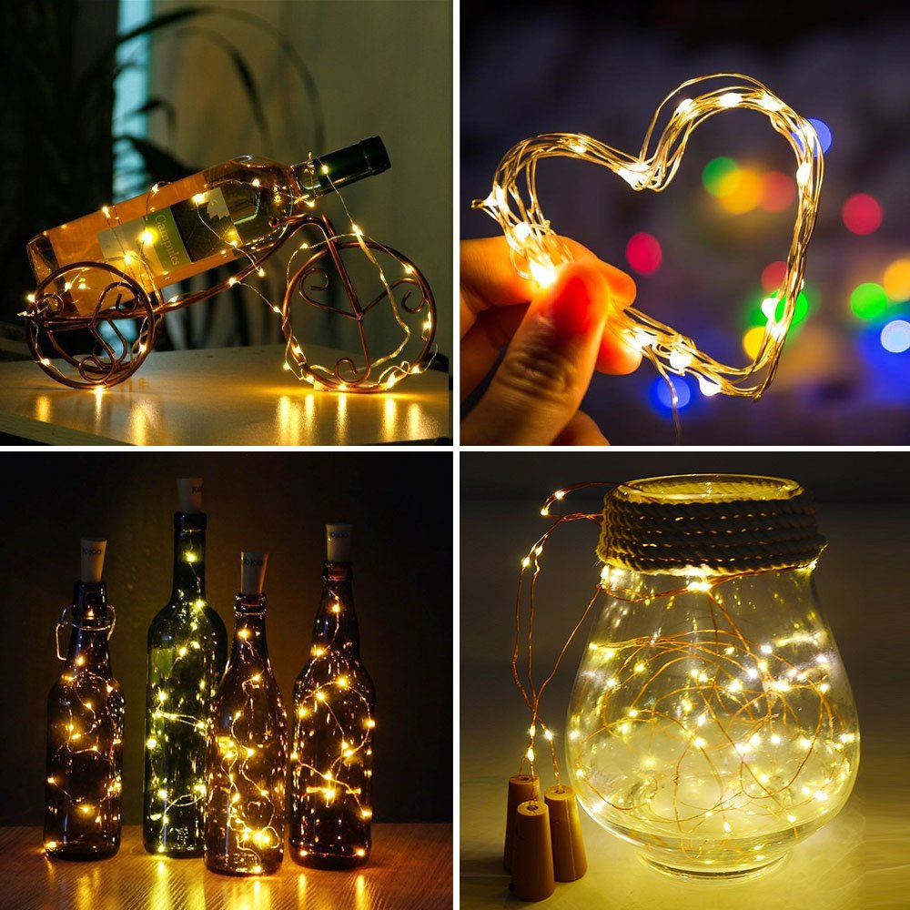 amazoncom wine bottle cork lights set of 6 40inch 1m 20 leds copper wire string lights for bottle diy adsion christmas halloween wedding party