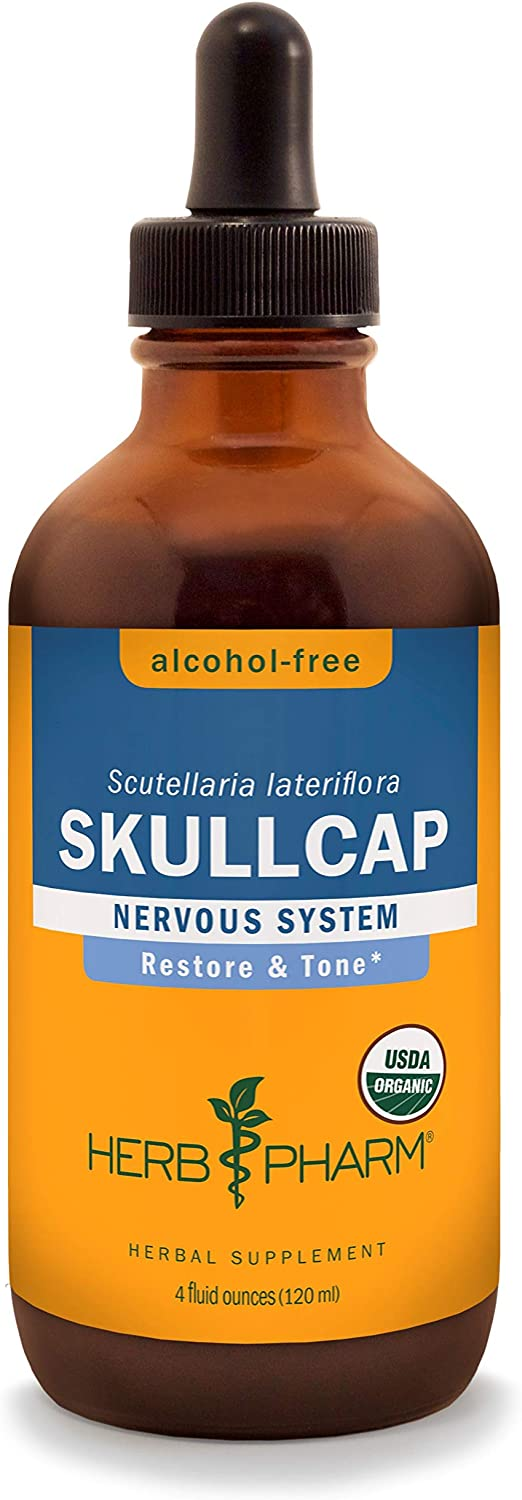 Herb Pharm Certified Organic Skullcap Liquid Extract for Nervous System Support, Alcohol Free Glycerite, 4 Ounce