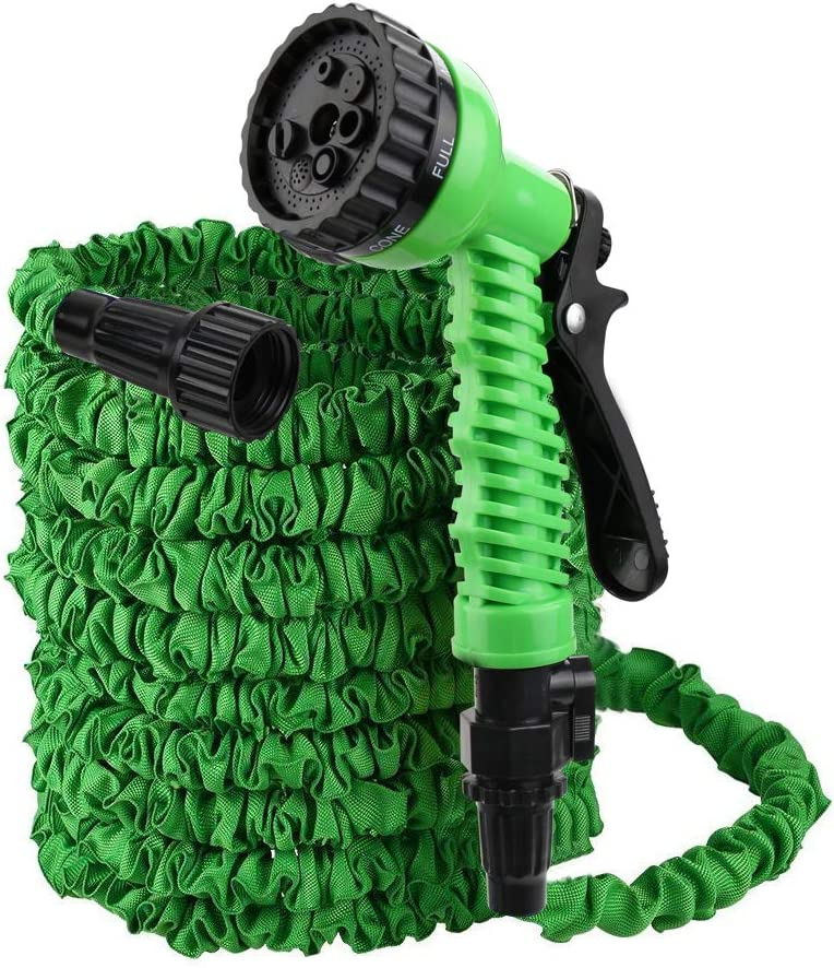 Flantor Garden Hose,Water Hose,25FT Upgrade Expandable Garden Water Hose, Double Latex Core - Extra Strength Fabric Protection - 7 Functions Spray Nozzle,Collapsible Hose for Flowers (25Feet, Green)