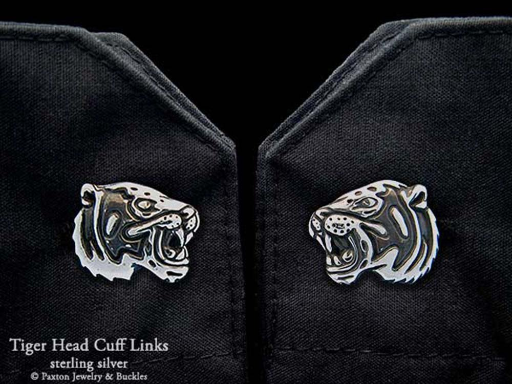 Tiger Head Cuff Links in Solid Sterling Silver Hand Carved & Cast by Paxton