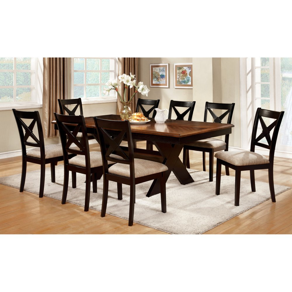 amazon com furniture of america argoyle 9 piece trestle dining