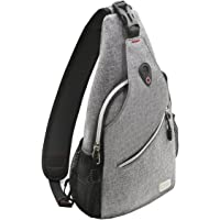 Mosiso Sling Backpack, Polyester Water Repellent Durable Chest Shoulder Unbalance Gym Fanny Lightweight Crossbody Sack Satchel Outdoor Hiking Bag for Men Women Girls Boys Travel Daypack, Gray