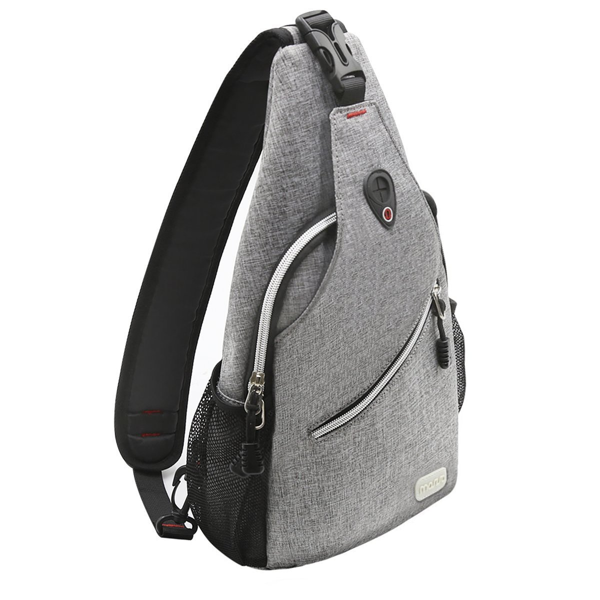MOSISO Sling Backpack, Polyester Crossbody Shoulder Bag for Men Women Girls Boys, Gray