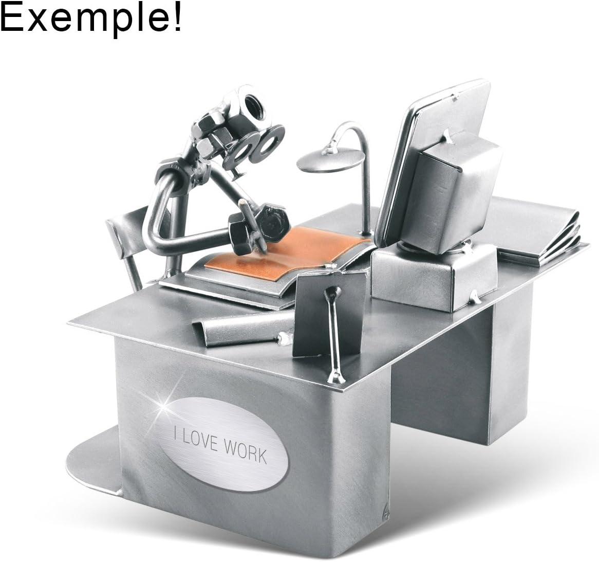 Steelman24 I Figurine en m/étal Peintre en B/âtiment avec Rouleau Et Porte-Cartes De Visite avec Plaque De Gravure I Made in Germany I Id/ées Cadeaux