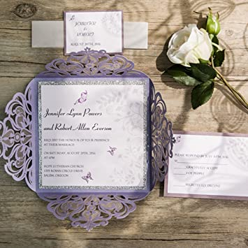 Amazon 50 elegant lavender laser cut wedding invitation card 50 elegant lavender laser cut wedding invitation card kit with rsvp and envelope customized birthday party stopboris Image collections