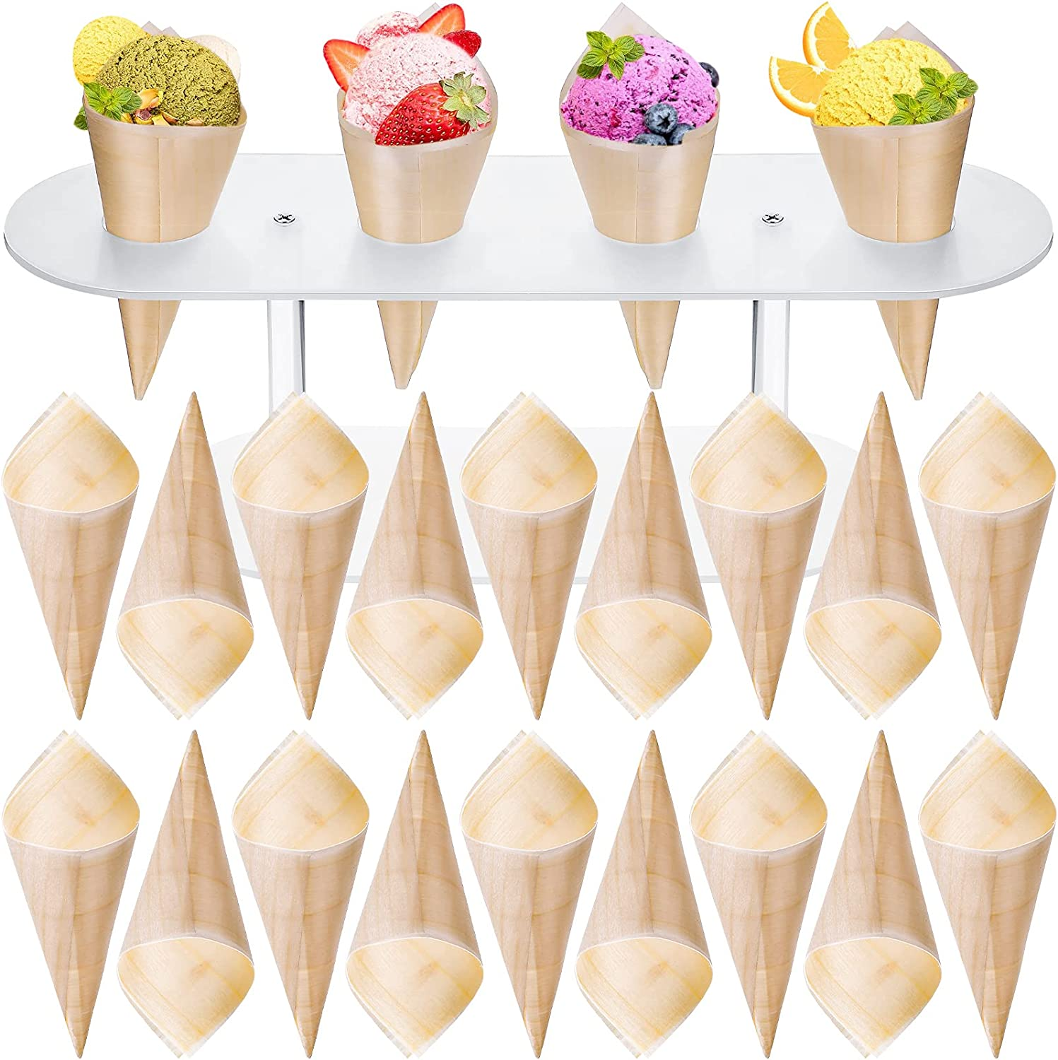 Disposable Wood Cones Serving Cone Food Tasting Cone Wood Cone Appetizer Holder Pinewood Disposable Cones 5 Inch Finger Foods Cones for Appetizers, Catering and Home Use (200)
