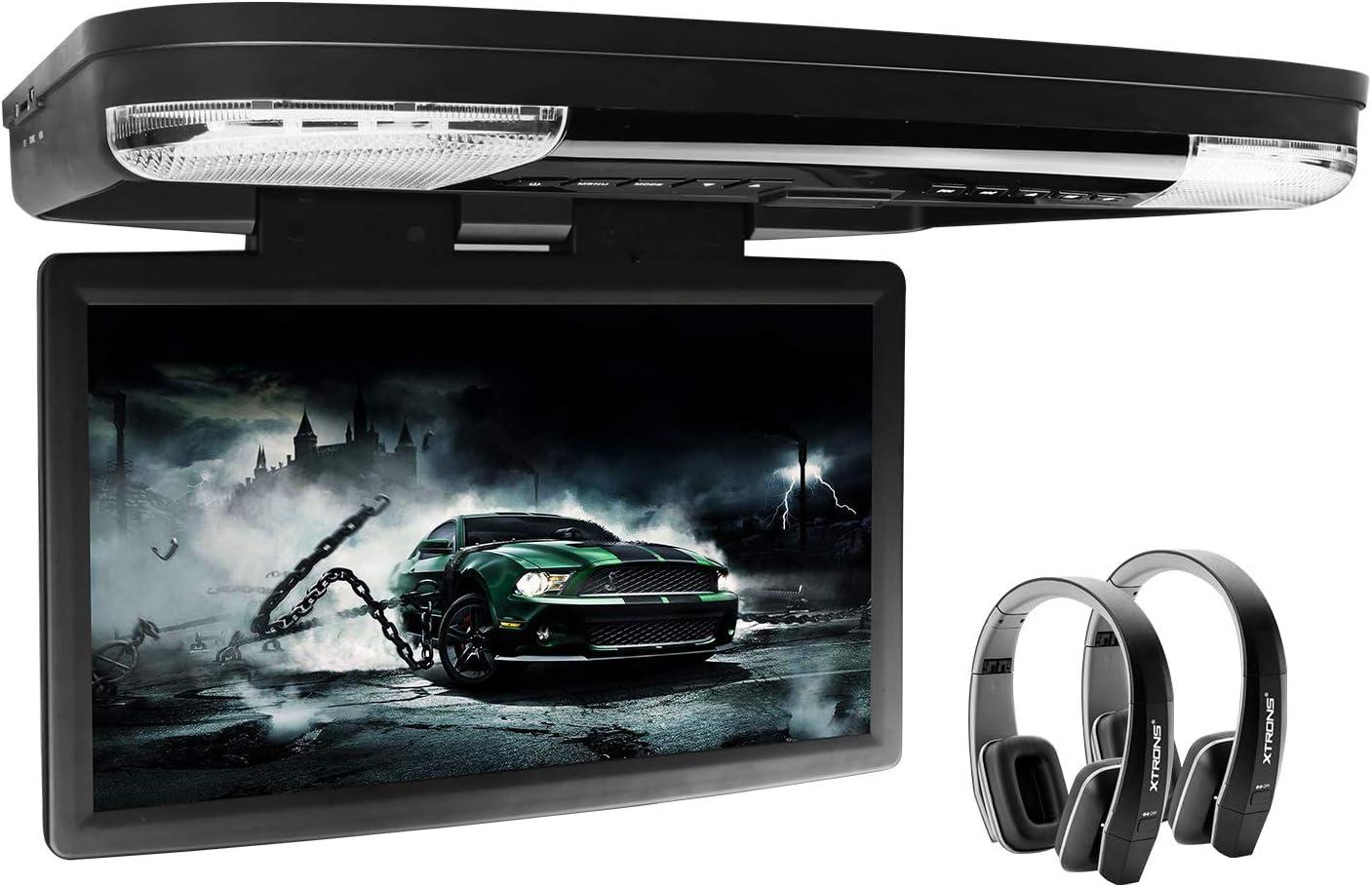 Xtrons Dvd Dvd 39 6 Cm 15 6 Zoll 1080p Hd Digital Widescreen Für Auto Wohnmobil Dach Aufklappbar Hdmi Anschluss Inkl Ir Kopfhörer Schwarz Navigation