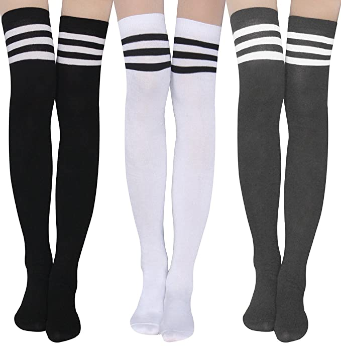 fd69a1a254e6e Womens Stripe Thigh High Socks - Leg Warmer Dresses Over Knee High  Stockings Cosplay Socks
