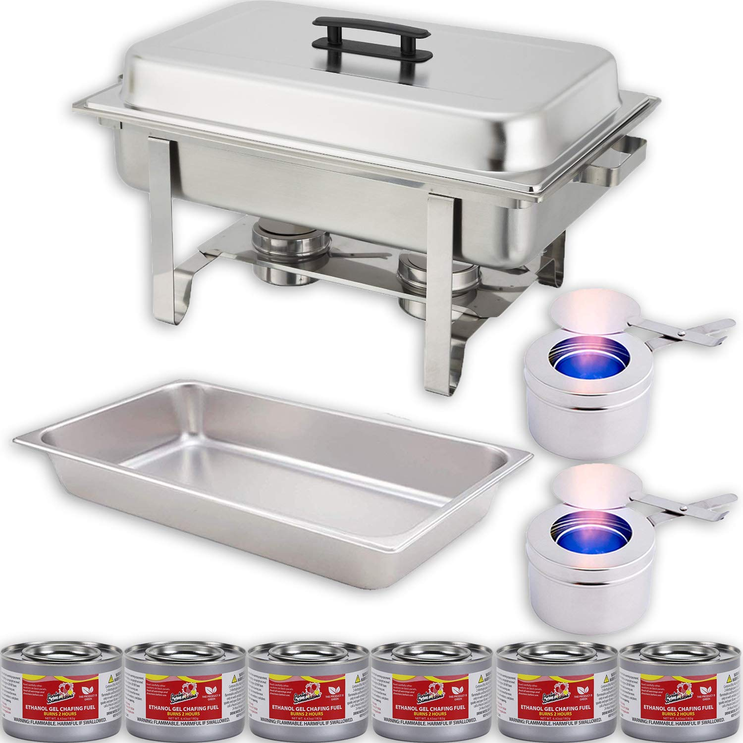 Chafing Dish Buffet Set w/Fuel - Water Pan + Food Pan (8 qt) + Frame + 2 Fuel Holders + 6 Fuel Cans - Warmer Kit