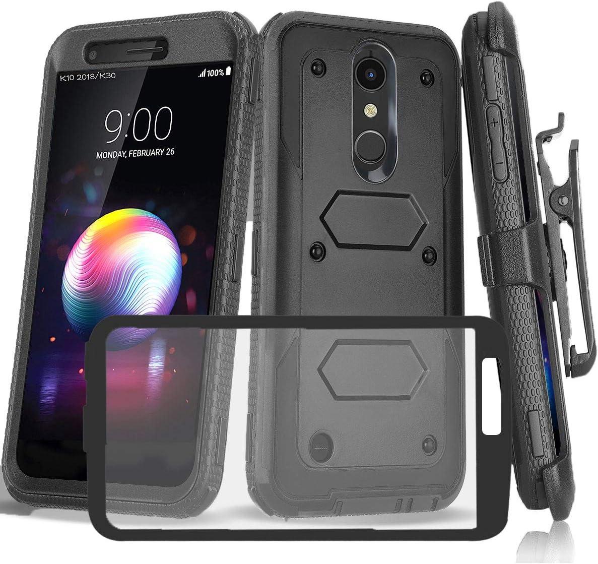 LG K30 Case/LG CV3 Prime/LG K10 2018/LG Phoenix Plus/Premier Pro LTE/LG Xpression Plus/Harmony 2 Case W [Built-in Screen Protector] Heavy Duty Rugged Armor Swivel Belt Clip Holster[Kickstand], Black