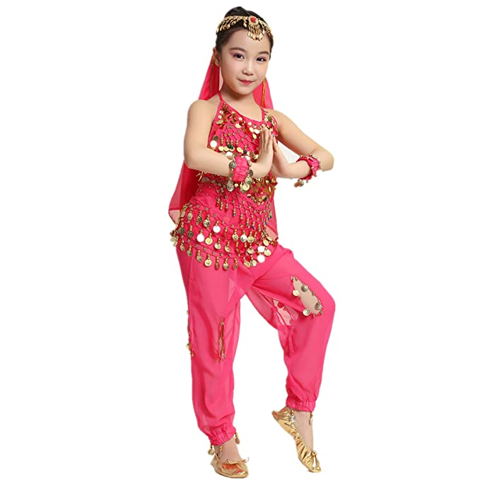 Amazon com: MUNAFIE Kid's Belly Dance Costumes Fancy Party