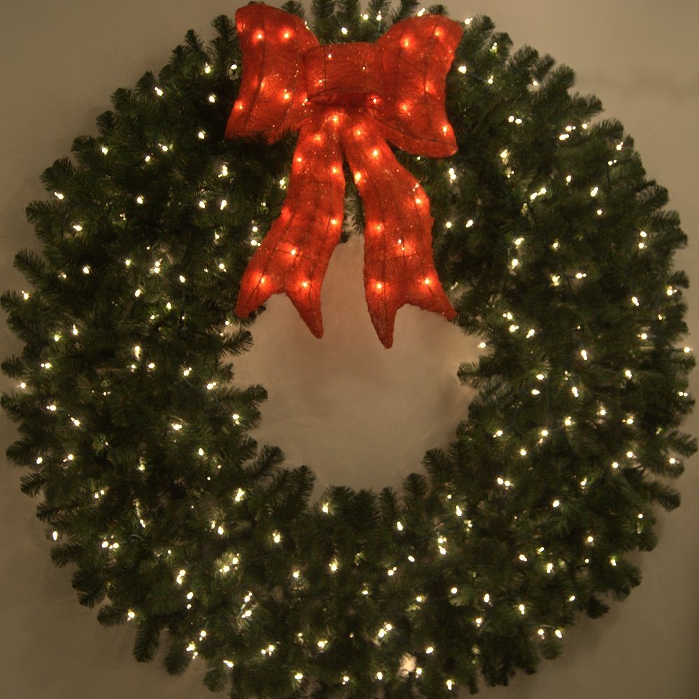 5 Foot Pre-lit Christmas Wreath with Large Red Bow