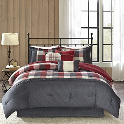 Amazon.com: Madison Park Ridge Queen Size Bed Comforter Set Bed in A ...