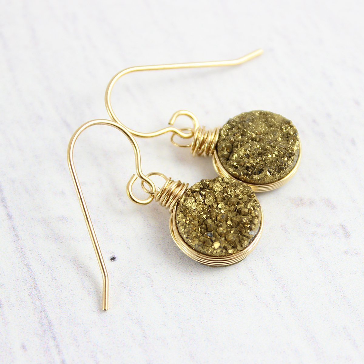 Round Earrings Druzy Sparkly Crystal Earrings Natural Drusy Earrings Gold Dangle Unique Gifts For Women R7-155