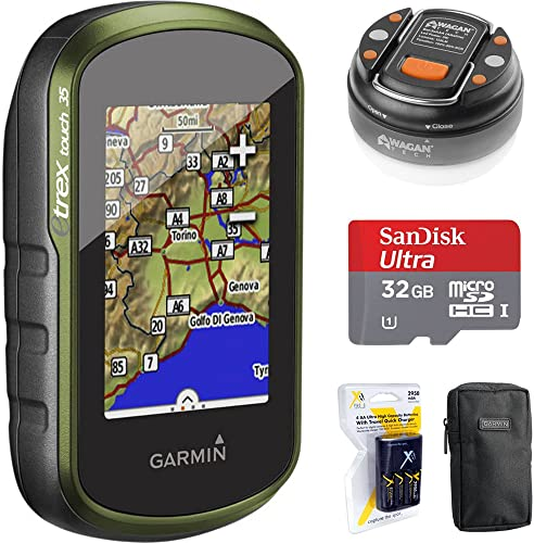Garmin eTrex Touch 35 Color GPS GLONASS w 3-axis Compass 010-01325-10 32GB Memory Card LED Brite-Nite Dome Lantern Flashlight Carrying Case 4X Rechargeable AA Batteries w Charger