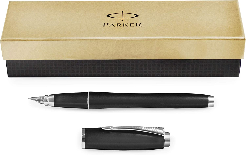 Pluma estilogr/áfica color negro punta mediana, tinta azul Parker Urban Premium