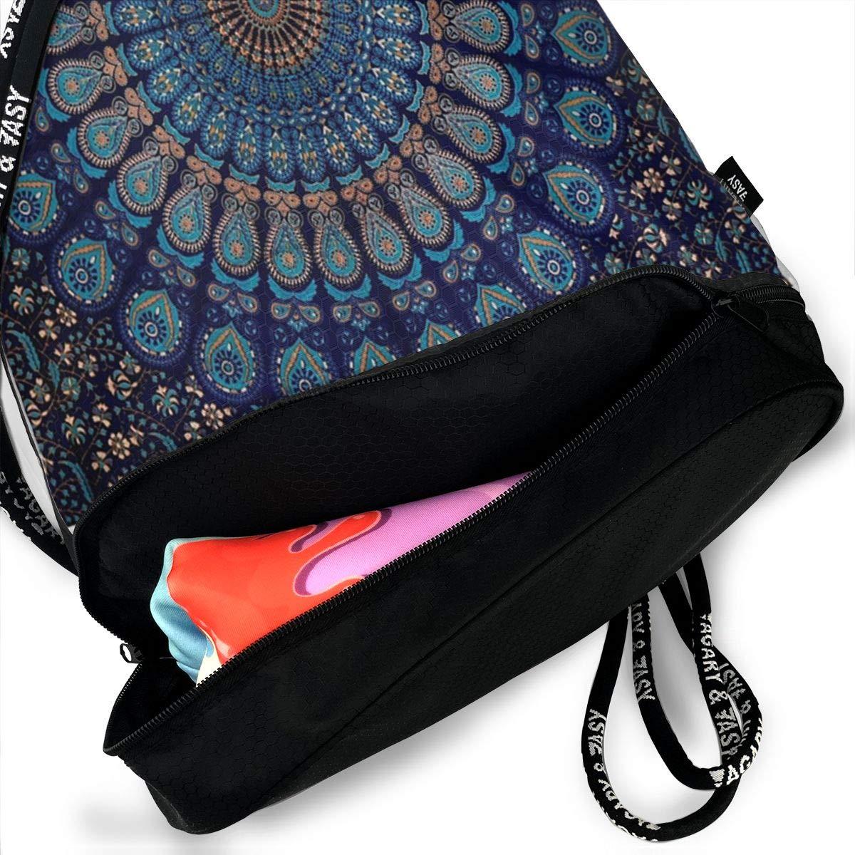 HUOPR5Q Blue-Mandala Drawstring Backpack Sport Gym Sack Shoulder Bulk Bag Dance Bag for School Travel
